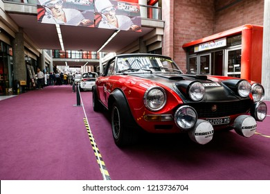 MODENA, ITALY - September, 2018. Modena Motor Gallery exhibit a vintage Fiat Abarth 124 Rally