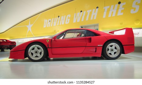 MODENA, ITALY-JULY 21, 2017: Ferrari F40 in the Enzo Ferrari Museum.