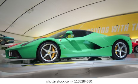 """MODENA, ITALY-JULY 21, 2017: Ferrari LaFerrari in the Enzo Ferrari Museum in Modena, Italy. It was a part of exhibition «Driving with the Stars». The owner of this green LaFerrari is """"Jay"""" Kay."""