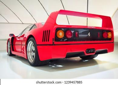 MODENA, ITALY-JULY 21, 2017: Ferrari F40 in the Enzo Ferrari Museum