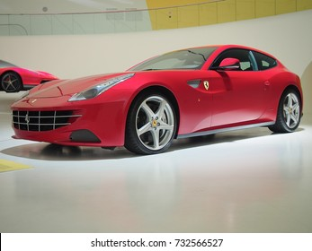 MODENA, ITALY-JULY 21, 2017: Ferrari FF in the Enzo Ferrari Museum in Modena, Italy. It was a part of exhibition «Driving with the Stars». A FF owner is British golfer Ian Poulter.