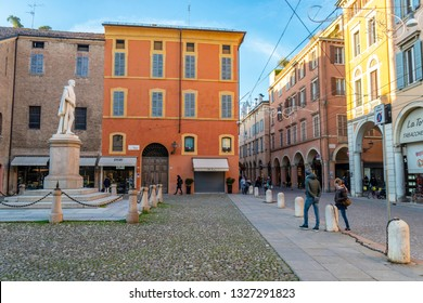 Modena/Italy-12.29.2018: The street of Modena town in Italy where Luciano Pavarotti was living