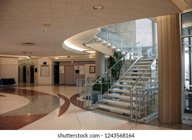 Modern (1970's) style institutional interior, atrium and stairs