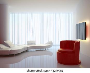 ? modern 3d interior composition