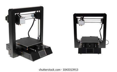 Modern 3D printer isolated over white background