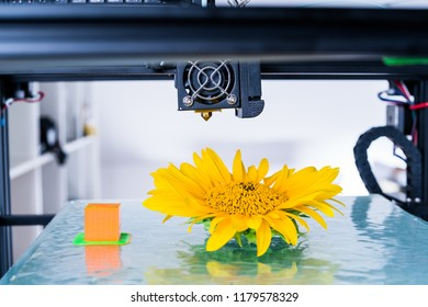 Modern 3D printing. 3d printer mechanism working yelement design of the device during the processes.