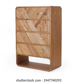 Modern 4 Roomy Drawer Chest Isolated on White. Side View Wooden Fore Doors Bedroom Chest of Drawer Table from Natural White Cedar Solid Brass Hardware. Wood Dresser Mirror. Bureau Cabinet