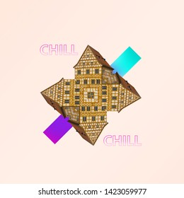 The modern absract architecture on coral background. Concept of interaction of historical city sights or showplaces with completely new forms. Negative space. Contemporary and creative art collage.