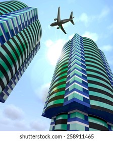 Modern abstract city buildings and a plane in the sky.