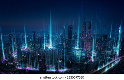 Modern abstract cityscape and network connection concept .
