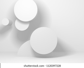 modern abstract geometric art deco mockup minimalistic background. white primitive shapes. 3d render illustration