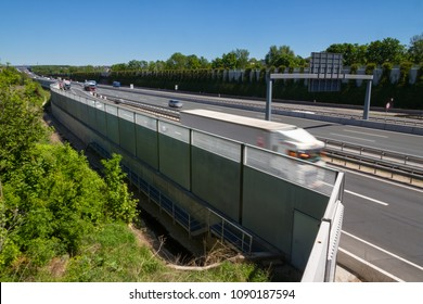 Modern acoustic protection wall on a german highway