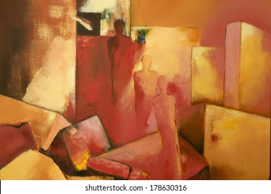 Modern acrylic painting with three abstract human figures