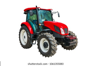 Modern agricultural tractor isolated on white background.