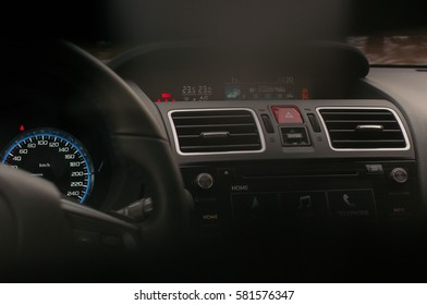 Modern air vent inside the car and emergency signal.