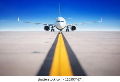 modern aircraft on a runway