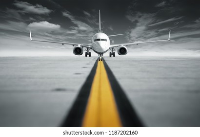 modern airplane on a runway