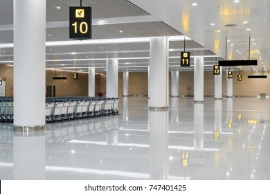 modern airport hall interior with nobody