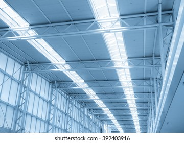 Modern airport roof in blue color tone