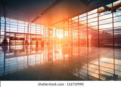 modern airport terminal and flight in shanghai