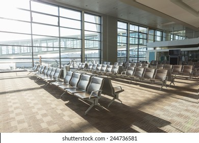 modern airport waiting hall interior