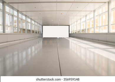 modern aisle and white blank billboard