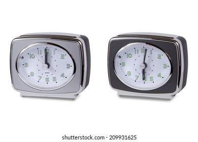 Modern alarm clock multi-colour isolated en white background.