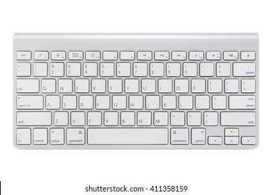 Modern aluminum computer keyboard isolated on white background with cliping path