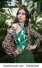 modern amazon girl in jungle