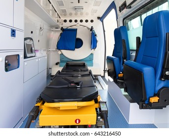 Modern Ambulance equipped with portable CT scanner