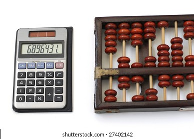 modern and an ancient counting machines.