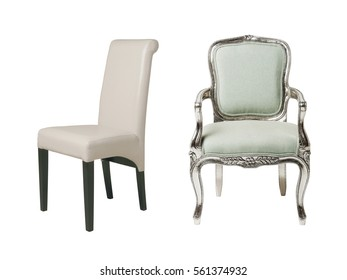 Modern and antique chairs isolated