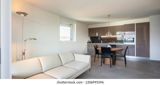 Modern apartament, living room and kitchen in open space. Nobody inside