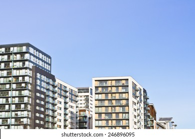 Modern apartment blocks in the UK