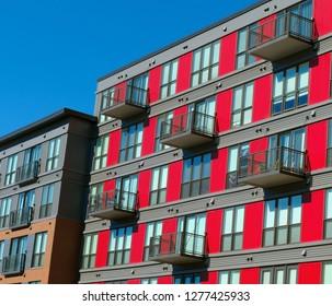 Modern apartment building façade