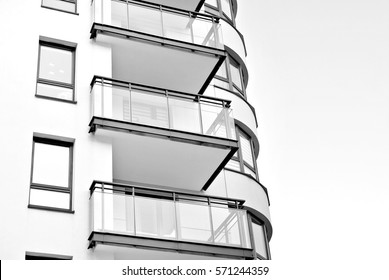 Modern apartment building. Black and white.