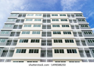 Modern apartment building at blue sky