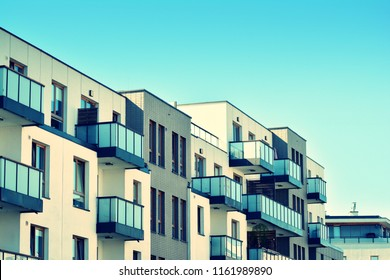 Modern apartment building exterior. Retro colors stylization