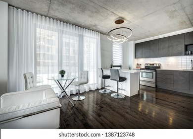 Modern apartment in a building in Montreal, Canada
