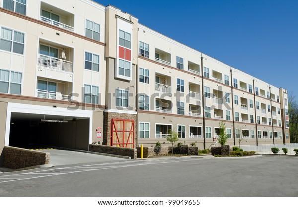 Modern Apartment Building Parking Garage Stock Photo (Edit ...