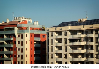 Modern apartment building with solar panel on roof in Murcia, Spain