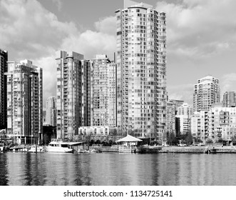 Modern apartment buildings by the sea