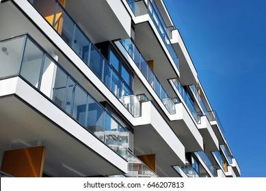 Modern apartment buildings exteriors