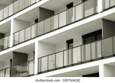Modern apartment buildings. Facade of a modern apartment building. Black and white.