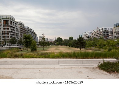 Modern apartment buildings in a green residential area in Paris suburb, France