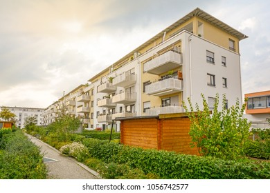 Modern apartment buildings in a green sustainable environment