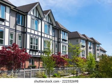 Modern apartment buildings in North America