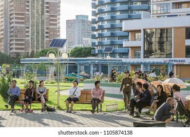 Modern apartment buildings, Pyongyang, Democratic People's Republic of Korea (DPRK), North Korea, Mai 19, 2018