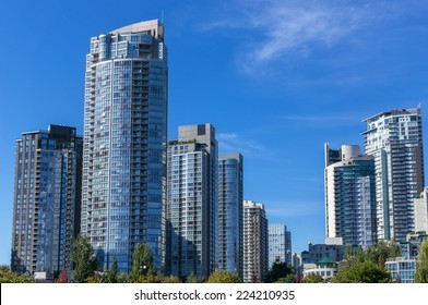 Modern apartment buildings in Vancouver, BC, Canada.