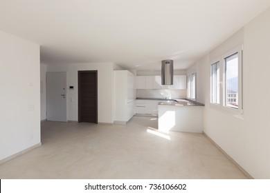 Modern apartment, empty spaces, kitchen